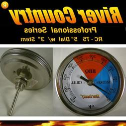 """5"""" RCT5 BBQ CHARCOAL GAS ELECTRIC GRILL SMOKER PIT THERMOMET"""
