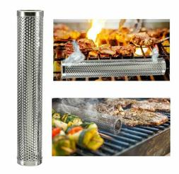 Round Stainless Steel Smoking Tube Smoker For Gas Electric C